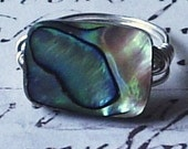 Abalone Shell and Sterling Silver Ring - Rectangle