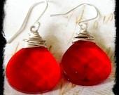 Bright Red Glass Quartz Dangle Earrings