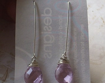 Pink Glass Quartz Dangle Earrings