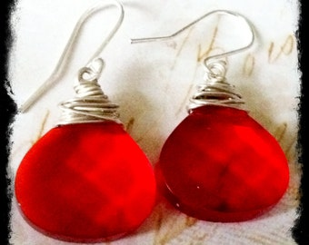 Bright Red Glass Quartz Dangle Earrings
