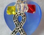 Autism Awareness Swarovski Crystal and Cats Eye Puzzle Piece Keychain