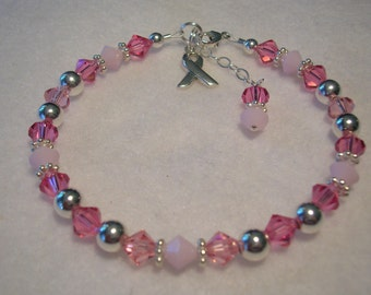 Breast Cancer Awareness Bracelet - Swarovski Crystal and Silver