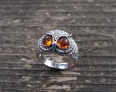 Sterling Silver Owl Ring With  Amber Eyes