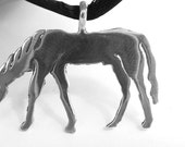 Sterling Silver Grazing Horse Pendant