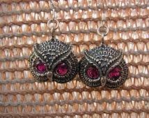 Sterling Silver Owl Earrings With Ruby Eyes