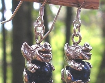 Sterling Silver Pig Earrings With Cobalt Blue