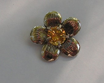 Sterling Silver Flower Pendant With Golden Citrine