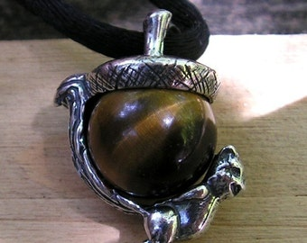 Sterling Silver Squirrel Pendant With Tiger Eye
