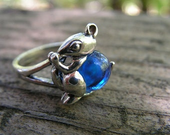 Sterling Silver Mouse Ring With Cobalt Blue