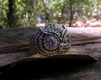 Sterling Silver Owl Ring With Clear Eyes