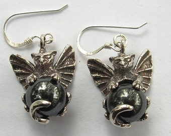 Sterling Silver Gargoyle Earrings With Hematite