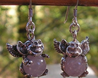 Sterling Silver Flying Pig Earrings With Rose Quartz