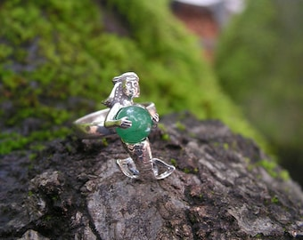 Sterling Silver Mermaid Ring With Aventurine