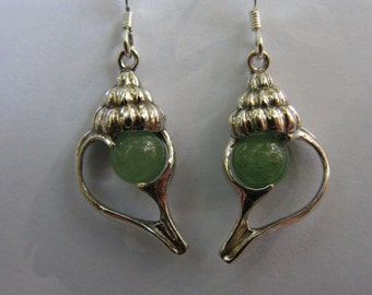 Sterling Silver Conch Shell Earrings With Aventurine