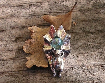 Sterling Silver Bat Pendant With Aqua Aura Stone
