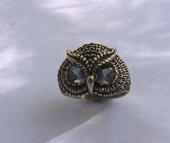 sterling silver owl ring with aquamarine by