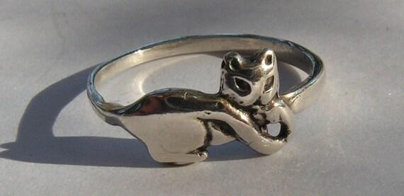 Sterling Silver Kitten Ring