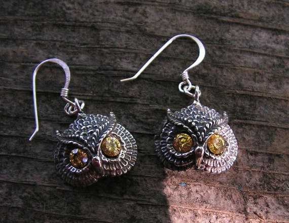Sterling Silver Owl Earrings With Citrine Eyes