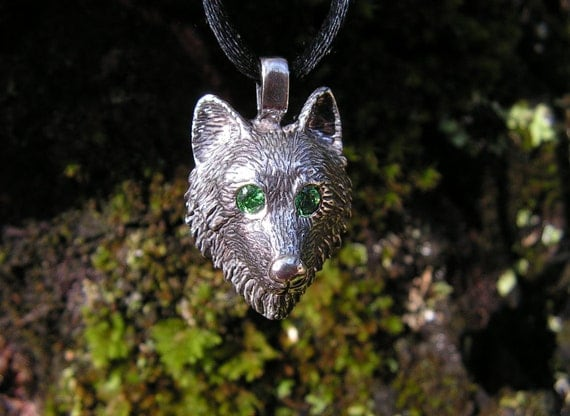 Sterling Silver Timber Wolf Pendant With Emerald Eyes