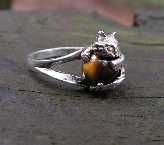 Sterling Silver Kitten Ring With Tiger Eye