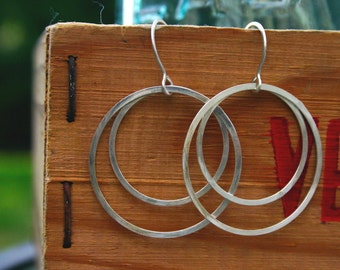 extra large double silver circle earring.