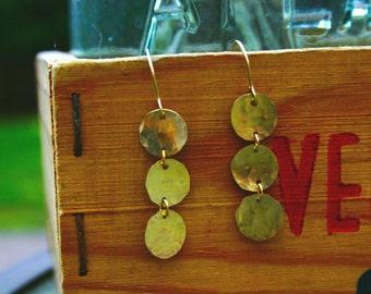 xs gold chandelier 3 disc earring.