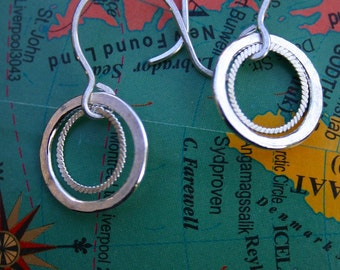 double braided open circle earrings.