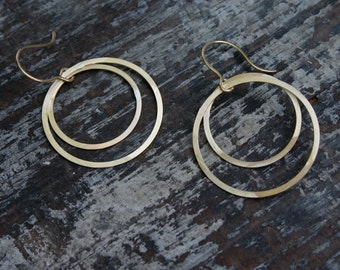 large double open circle earrings
