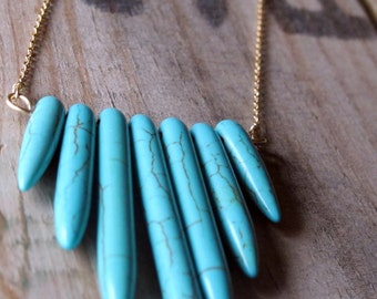 turquoise chevron gold necklace.