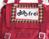 Red Canvas Shoulder Bag with Bicycle Motif