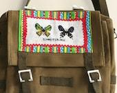 Olive Canvas Shoulder Bag with Butterfly Motif