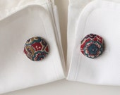 Floral Print Silk Cuff Links from Upcycled Tie Fabrics