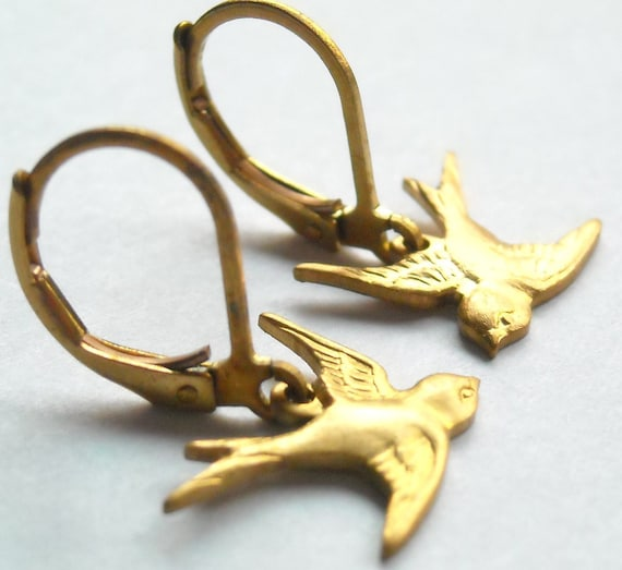 Raw Brass Soaring Sparrow Earrings