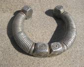 Old Chunky Tribal Etched Silver Bracelet - SALE