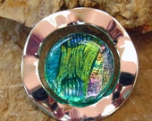 Dichroic Fused Glass in a Silver Setting, Fused Glass Jewelry - On the Waves