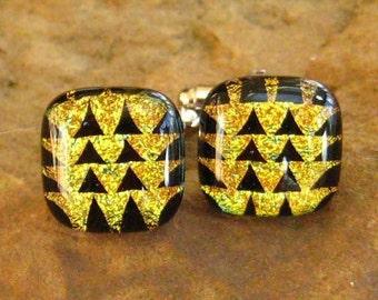 Unisex Cufflinks, Gold Glass Cufflinks, Glass Cuff Links, Dichroic Fused Glass Cufflinks - Gold Arrowheads