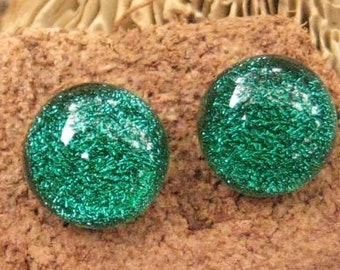 Green Fused Glass Studs, Green Post Earrings, Green Dichroic Jewelry Post Earrings, Emerald Green Dichroic Fused Glass Button Earrings
