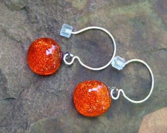 Orange Dichroic Fused Glass Earrings, Fused Glass Earrings --Hot Orange French Hook Earrings