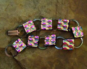 Pink Glass Bracelet, Fused Glass Bracelet, Pink Bracelet, Dichroic Jewerly Fused Glass Link Bracelet  - Pink Moonlight
