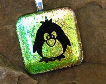 Christmas Necklace,  Holiday Fused Glass Pendant, Fused Glass Penguin, Dichroic Pendant, Gold Dichoric Penguin Fused Glass Pendant