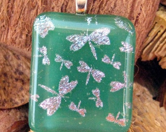 Green Glass Pendant, Dichroic Fused Glass Pendant, Green Dragonfly Fused Glass Pendant, Dragonfly Jewelry,  Dragonfly Pendant