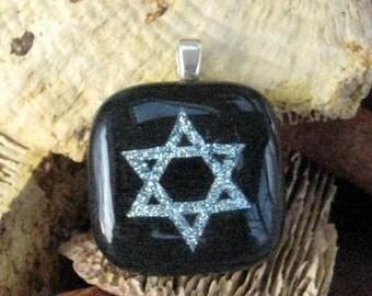 Star of David Pendant, Dichroic Fused Glass Pendant - Silver Star of David Fused Glass Jewelry Pendant
