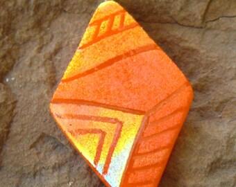 Dichroic Fused Glass Zentangle Pendant, Orange Glass Pendant,  Fused Glass Pendant, Zentangle Pendant  - Southwestern Orange