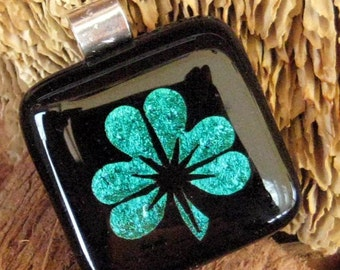 Green Glass Necklace, Luck Pendant, Fused Glass Shamrock Pendant, Dichroic Shamrock, Irish Necklace, Emerald Green Shamrock Dichroic Pendant