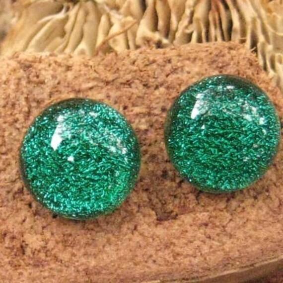 Green Dichroic Jewelry Post Earrings, Emerald Green Dichroic Fused Glass Button Earrings