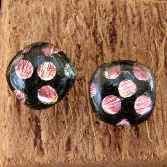 Dichroic Fused Glass  Button Earrings - Hot Pink Polka Dot