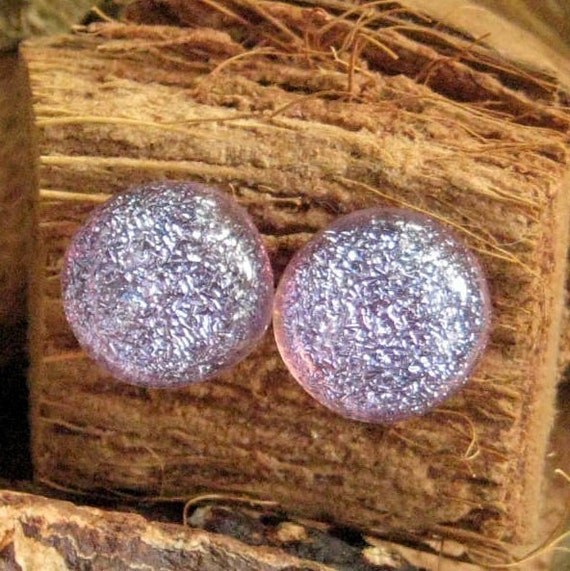 Purple Dichroic Fused Glass Post Earrings  Lavender Sparkle Button Earrings