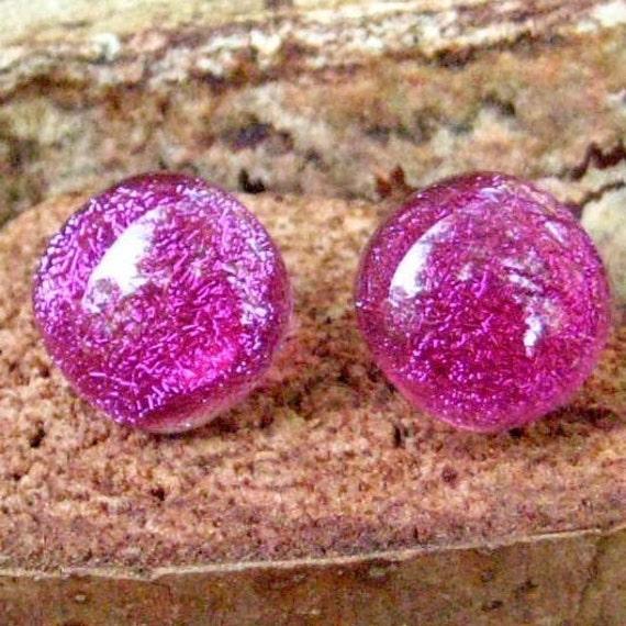 Fushia Pink Dichroic Fused Glass Button Earrings