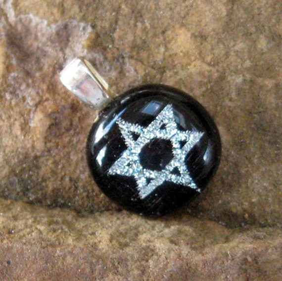 Silver Star of David Pendant, Dichroic Star of David, Petite Silver Fused Glass Dichroic Star of David Pendant