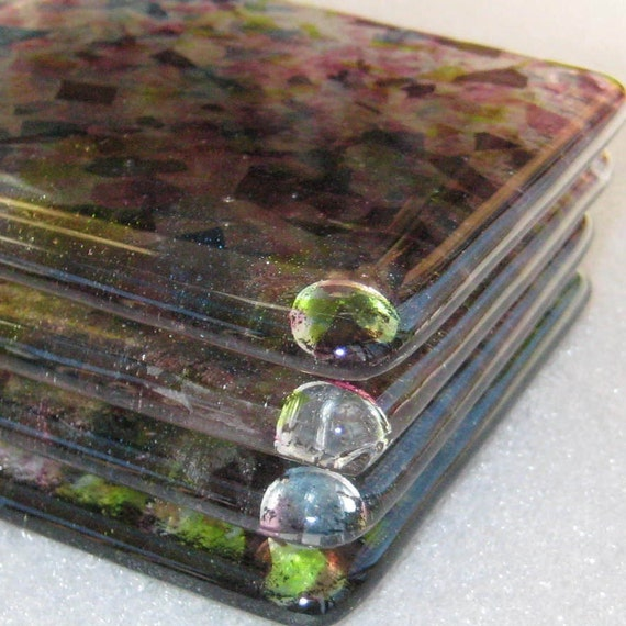 Fused Glass Coaster Set of Four - Garden Party